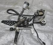 08-14 Yamaha YZF R6 Right Rearset with Rear Master Cylinder and Caliper
